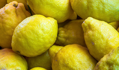 Close-up of lemons as background
