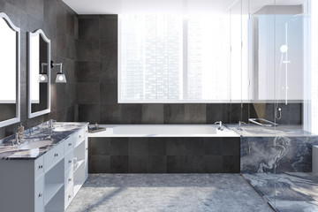 Dark tiles bathroom interior
