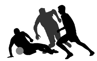 Isolated poses of soccer players in duel vector silhouettes on white background. Football player silhouette cutout outlines.