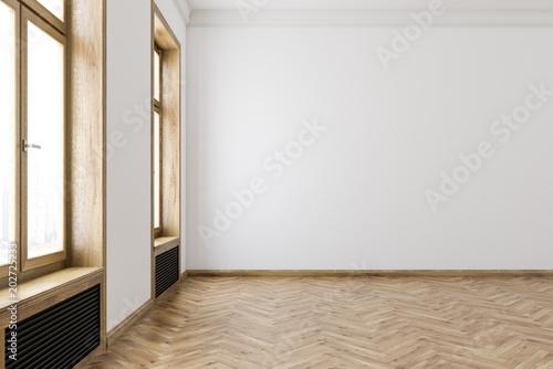 White wooden frames windows empty room interior\