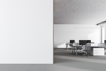 White wall office, front view, mock up