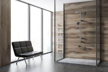 Loft wooden bathroom corner, shower