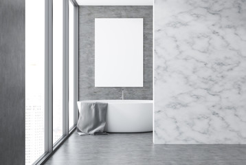Concrete and marble bathroom interior