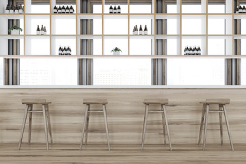 Wooden comfortable bar interior