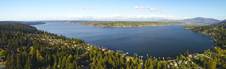 Lake Sammamish Bellevue Washington Panoramic Landscape View