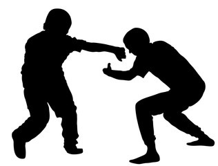 Two boys fighting vector silhouette. Two young brothers fight vector silhouette illustration. Angry kid terror. Street hitting and punching after school.