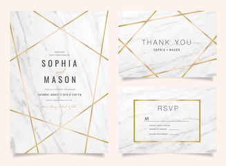 Luxury Wedding Invitations set  for Design  Thank you card , RSVP Stationary with marble vector cover. Wall mural