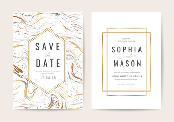 Wedding cards with marble and Luxury texture