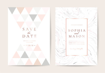 Minimal wedding cards with marble and rose gold texture