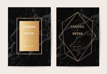 Wedding Invitation cards with black marble texture and gold line vector