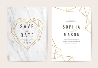 Wall Mural - Luxury wedding invitation cards with marble texture background vector illustration