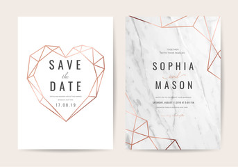 Wall Mural - Luxury wedding Invitation card with Geometric shape and Gold texture