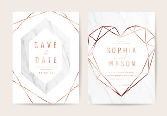 Luxury wedding Invitation card with Geometric shape and Gold texture