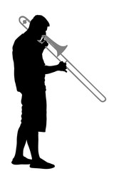 Trombone player vector silhouette illustration. Music man play instrument on street.