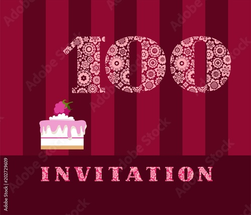 Invitation 100 Years Old Raspberry Pie Vector English The
