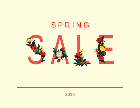 Minimalistic spring sale background with flowers. Vector template for advertisment, banners, flyers, invitation, posters, brochure, voucher discount.