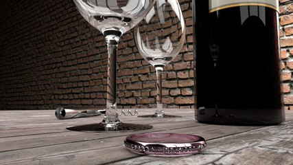 Marriage proposal - expensive pink ring on a worn wooden plank table, bottle of red wine, two glasses and wine opener, brick wall in the background
