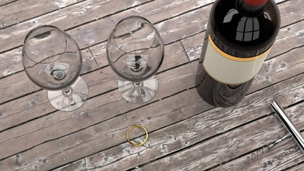 Romantic date and prepartion for a marriage proposal - expensive gold ring, bottle of red wine, two wine glasses and an opener on a dark wooden table