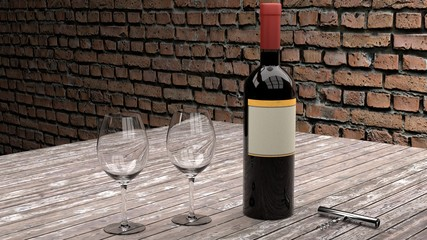 Warm and cozy restaurant or wine testing scene - one bottle of red wine glass, wine opener and two empty glasses on a dark worn wooden plank table, brick wall in the background