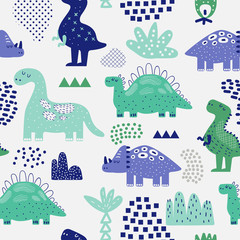 Estores personalizados infantiles con tu foto Hand Drawn Dinosaurs Seamless Pattern. Creative Childish Background with Cute Dino for Fabric, Textile, Wallpaper, Decoration, Prints. Vector illustration