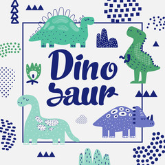 Cute Dinosaurs Design. Creative Childish Background with Dino for Cover, Decoration, Prints. Vector illustration