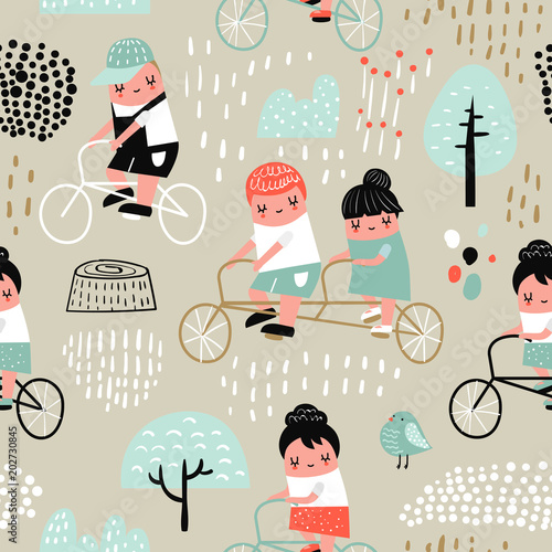 Hand Drawn Seamless Pattern With Kids On Bicycle Creative Childish