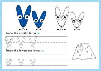 Alphabet Tracing and Colouring  Worksheet: Writing A-Z.Exercises for kids.
