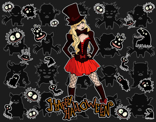 Cartoon halloween illustration set of diverse evil bizarre creatures, evil mascots and a beautiful gothic female 