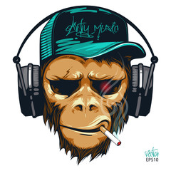 Music fan hipster monkey in headphone. DJ chimpanzee