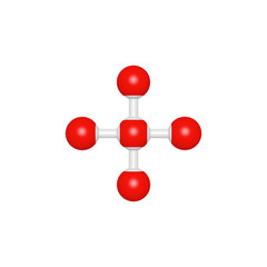 Molecule structure like mathematical operation symbol addition on white background, 3D rendered sign