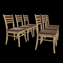 Wooden Chair with backrest 3d render on black background