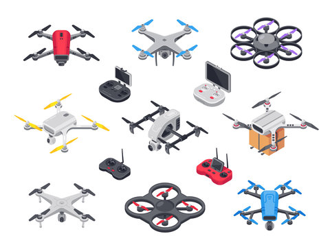 Remote control flying copter with camera. Radio controllers for rotor drone. Unmanned aircraft drones isolated isometric vector set