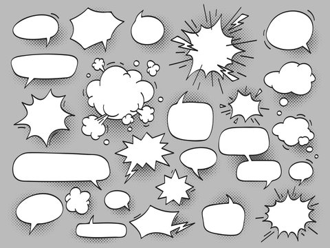 Сartoon oval discuss speech bubbles and bang bam clouds with halftone shadow. Chat cloud for comics vector illustration set isolated