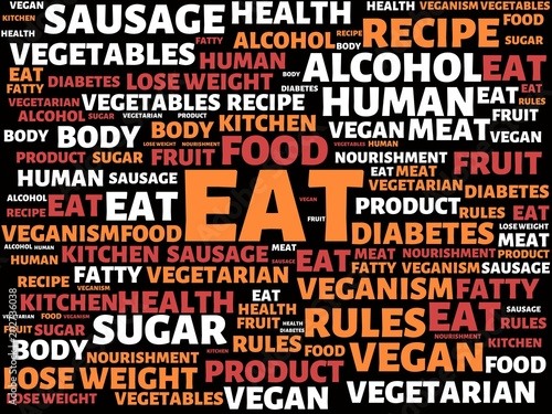 eat image with words associated with the topic nutrition word