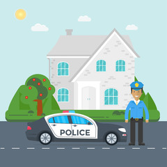 Police patrol on a road with police car, officer, house, nature