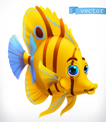 Funny tropical fish. 3d vector icon