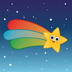 Cartoon character of shooting star. (Vector illustration)