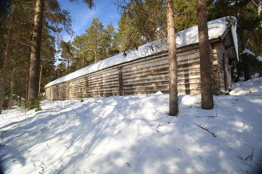 Longhouse at hembygsgard (homestead) in Glommerstraesk in Sweden