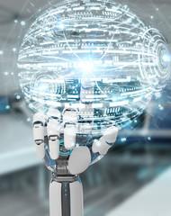 White robot hand using digital globe hud interface 3D rendering
