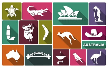 Australian icons. Vector Illustration