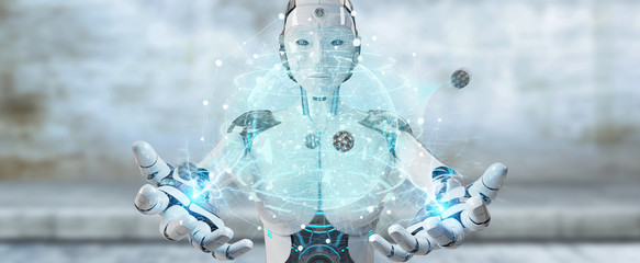 White woman cyborg using planet Earth interface 3D rendering