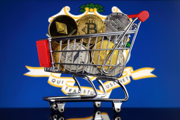 Shopping Trolley full of physical version of Cryptocurrencies (Bitcoin, Litecoin, Dash, Ethereum) and Connecticut State Flag.
