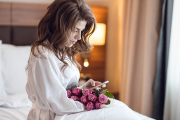 Attractive woman with bouquet