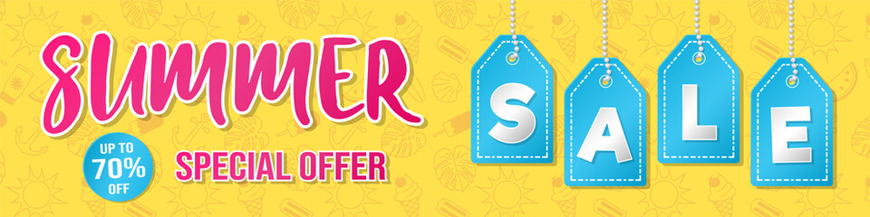 Special offer for a Summer Sale - concept of a banner. Vector.