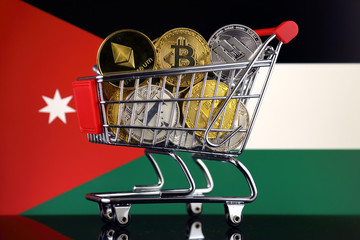 Shopping Trolley full of physical version of Cryptocurrencies (Bitcoin, Litecoin, Dash, Ethereum) and Jordan Flag.