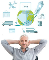 Relaxed mature businessman with hands behind head against logistics graphic
