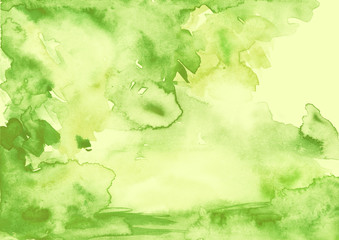 Watercolor background, abstraction. green, monochrome paint, colors, paint splash. Used for a variety of design and decoration.