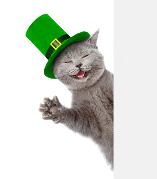 St. Patricks Day. Happy cat in the hat of the leprechaun behind white banner. isolated on white background