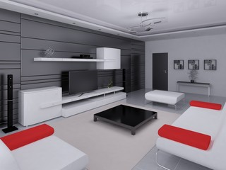 Mock up a hi-tech living room with a modern interior and functional furniture.