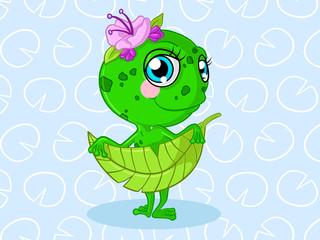 Süßes Comic Frosch Mädchen